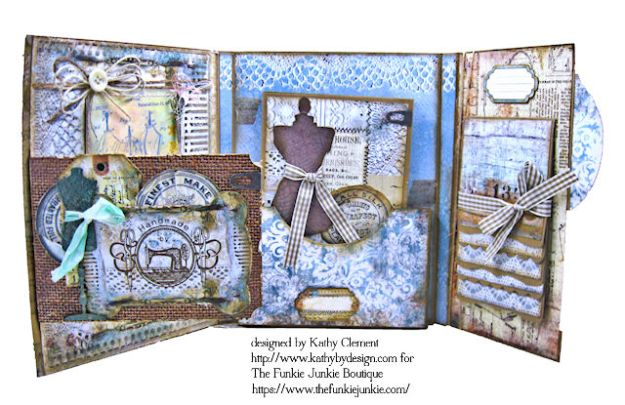 Stamperia Atelier Sewing Themed Folio with Tutorial by Kathy Clement for the Funkie Junkie Boutique Photo 10
