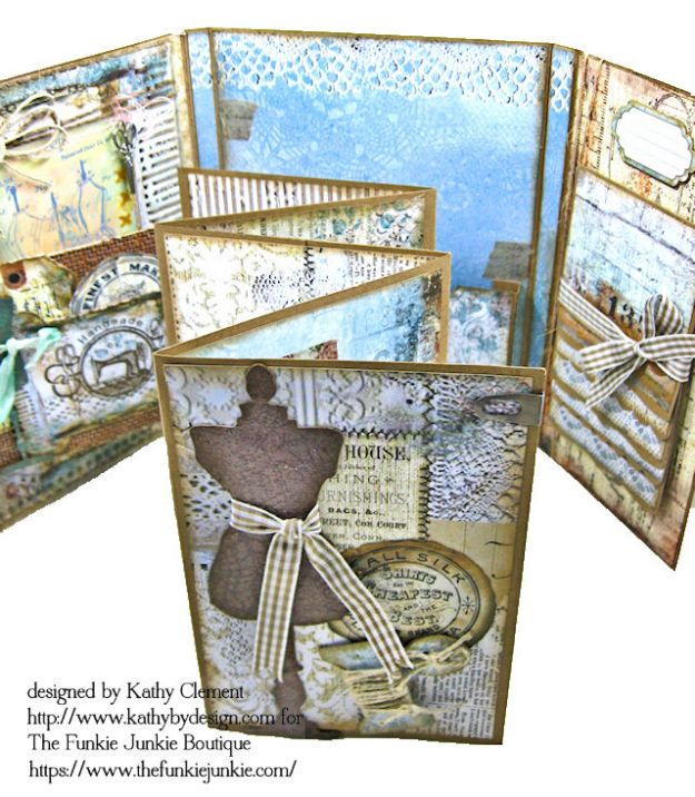 Stamperia Atelier Sewing Themed Folio with Tutorial by Kathy Clement for the Funkie Junkie Boutique Photo 12