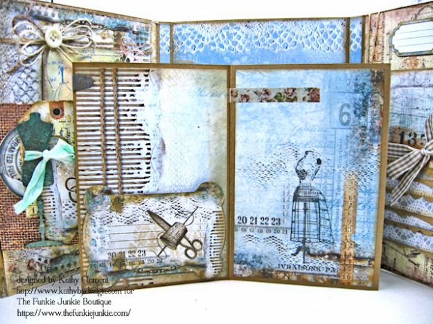 Stamperia Atelier Sewing Themed Folio with Tutorial by Kathy Clement for the Funkie Junkie Boutique Photo 13