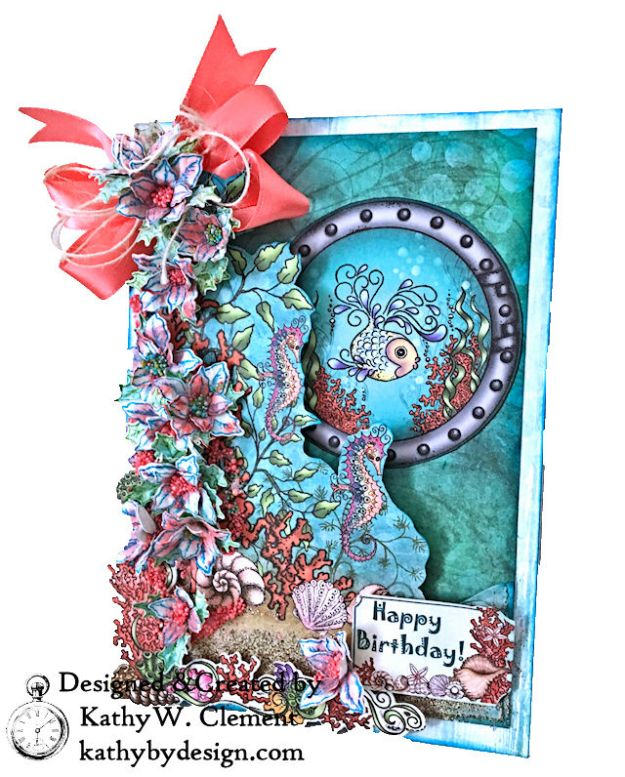 Heartfelt Creations Coral Sea Birthday Shaker Card Under the Sea by Kathy Clement Photo 02