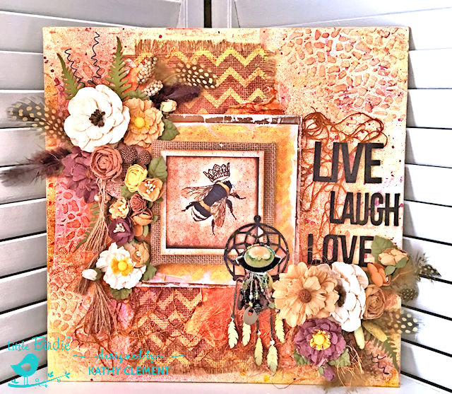 Sweet Life Mixed Media CanvasTutorial by Kathy Clement for Little Birdie Crafts Photo