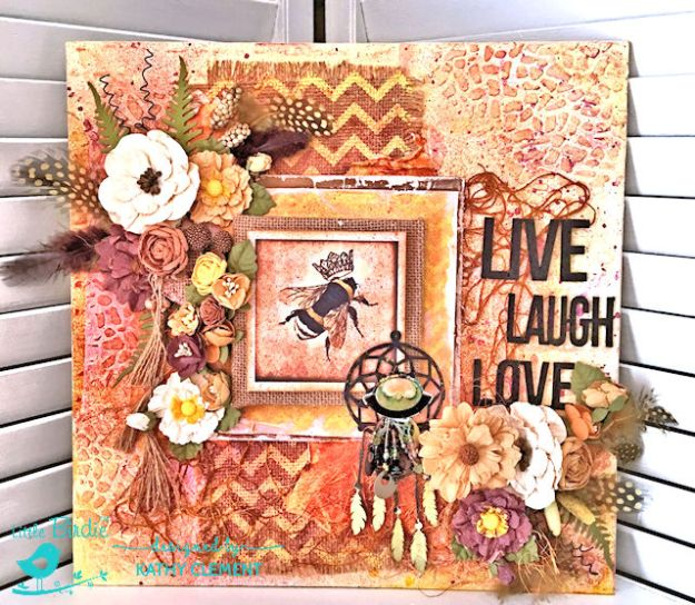 Sweet Life Mixed Media Canvas Tutorial by Kathy Clement for Little Birdie Crafts Photo 01
