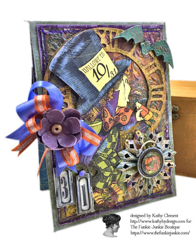 Graphic 45 Halloween in Wonderland Mixed Media Cards Tutorial by Kathy Clement for The Funkie Junkie Boutique Photo 06