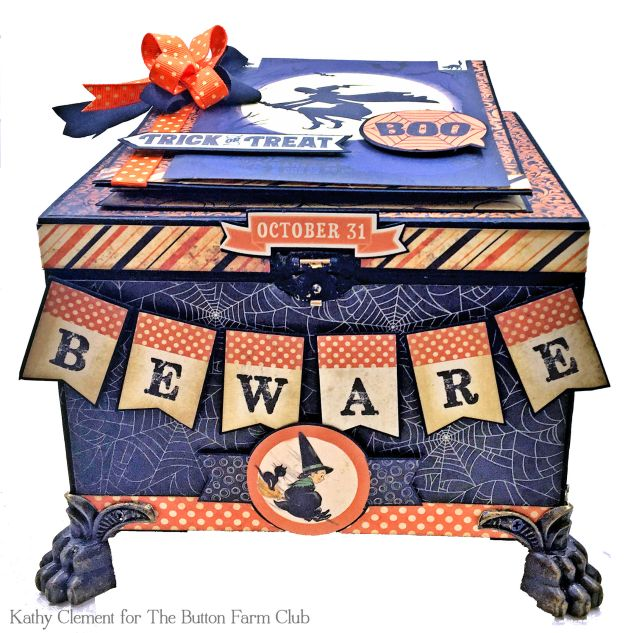 Authentique Nightfall Halloween Treat Box Mini Album Kit by Kathy Clement for Button Farm Club Photo 01