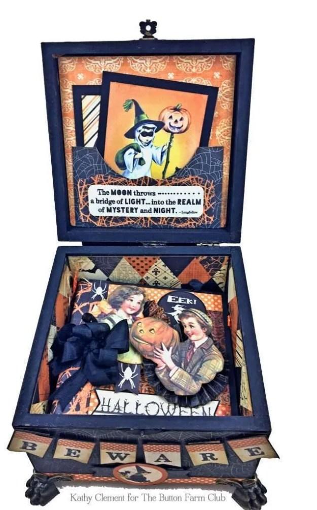 Authentique Nightfall Halloween Treat Box Mini Album Kit by Kathy Clement for Button Farm Club Photo 05