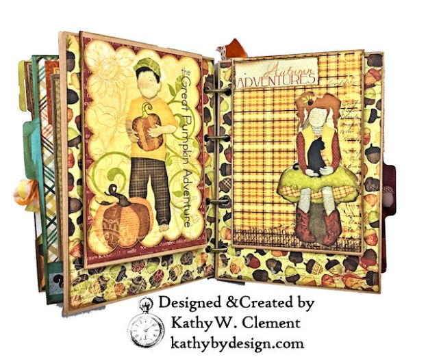 Fabulous Fall Stash Buster Mini Album by Kathy Clement for Really Reasonable Ribbon Photo