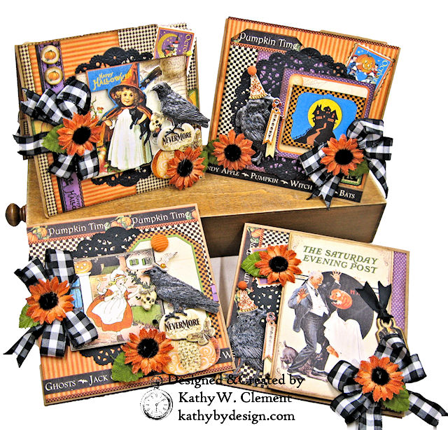 #Simply G45 Halloween Pocket Cards Tutorial Place in Time by Kathy Clement Product by Graphic 45 Photo