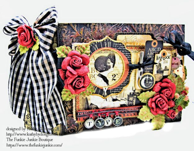 G45 Communique Faux Embossed Leather Mini Album Tutorial by Kathy Clement for The Funkie Junkie Boutique Photo 01