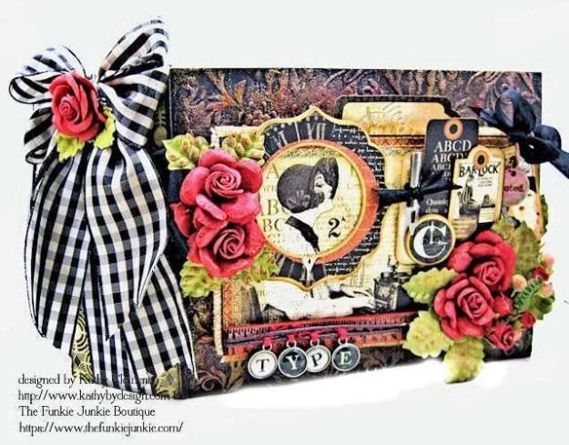 G45 Communique Faux Embossed Leather Mini Album Tutorial by Kathy Clement for The Funkie Junkie Boutique Photo 01
