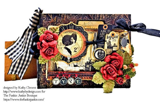 G45 Communique Faux Embossed Leather Mini Album Tutorial by Kathy Clement for The Funkie Junkie Boutique Photo 03