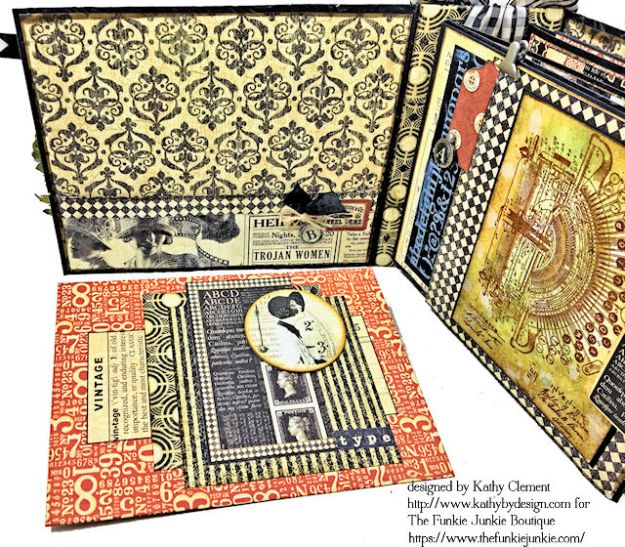 G45 Communique Faux Embossed Leather Mini Album Tutorial by Kathy Clement for The Funkie Junkie Boutique Photo 08