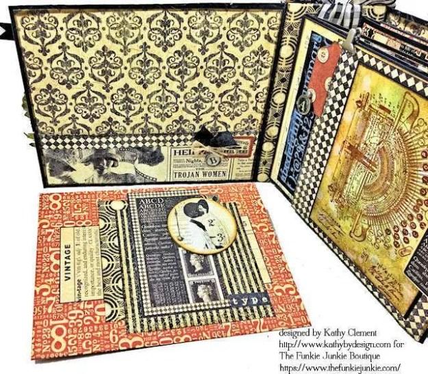 G45 Communique Faux Embossed Leather Mini Album Tutorial by Kathy Clement for The Funkie Junkie Boutique Photo 08