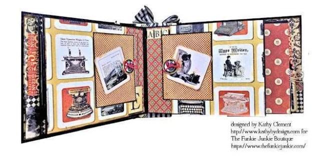 G45 Communique Faux Embossed Leather Mini Album Tutorial by Kathy Clement for The Funkie Junkie Boutique Photo 10