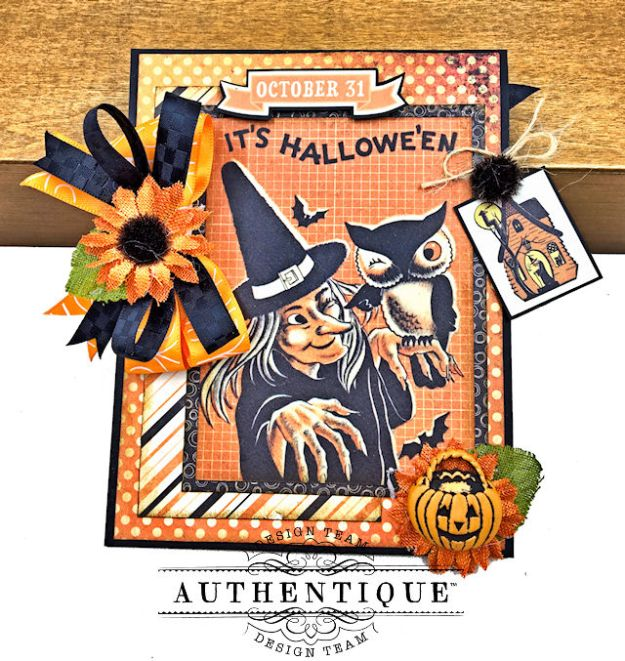 Authentique Nightfall Halloween Gift Card Tutorial by Kathy Clement for Authentique Paper Photo 04