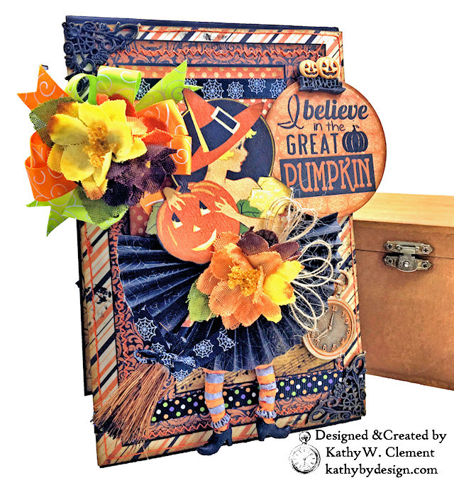 Witches Halloween Ball Card Folio by Kathy Clement for Really Reaonable Ribbon Product by Authentique Paper Photo 02