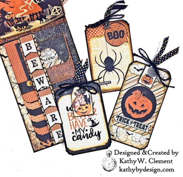 Witches Halloween Ball Card Folio by Kathy Clement for Really Reaonable Ribbon Product by Authentique Paper Photo 09