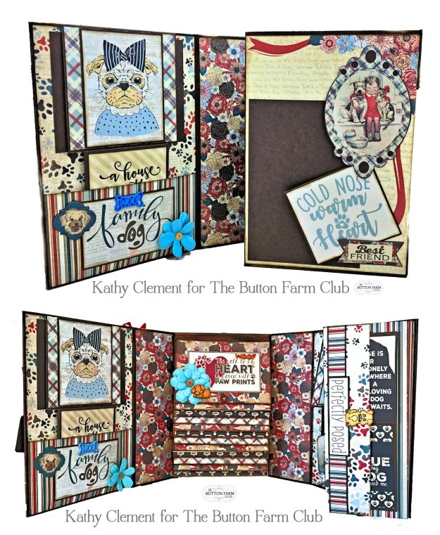Button Farm Club Companions Waterfall Mini Album Kit by Kathy Clement Product by Authentique Paper Photo 02