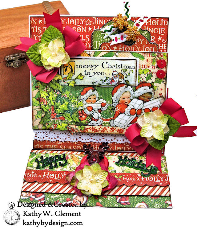Christmas Magic Easel Card by Kathy Clement for Really Reasonable Ribbon Product by Graphic 45 Photo 01