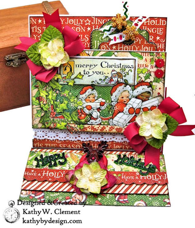 Graphic 45 Christmas Magic Easel Card by Kathy Clement for Really Reasonable Ribbon Photo 01