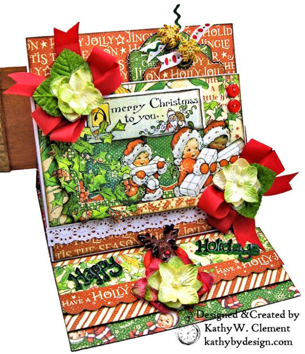 Graphic 45 Christmas Magic Easel Card by Kathy Clement for Really Reasonable Ribbon Photo 02