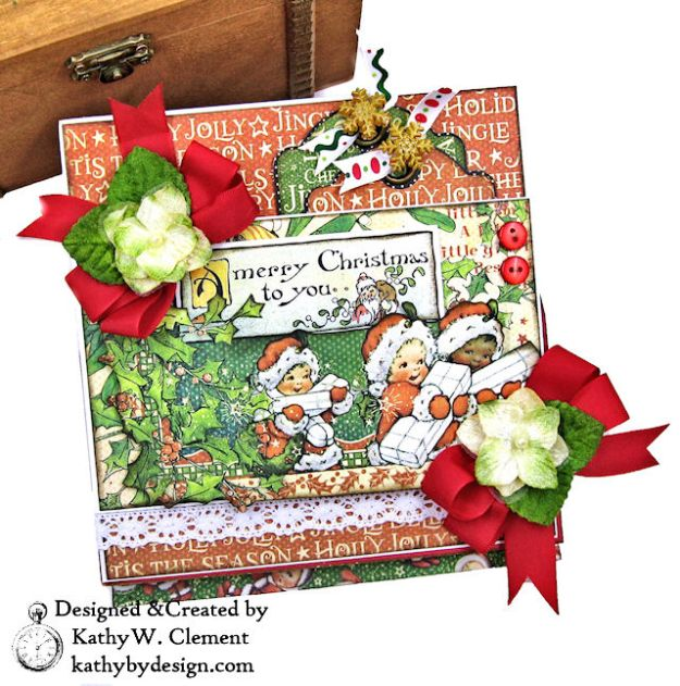 Graphic 45 Christmas Magic Easel Card by Kathy Clement for Really Reasonable Ribbon Photo 03