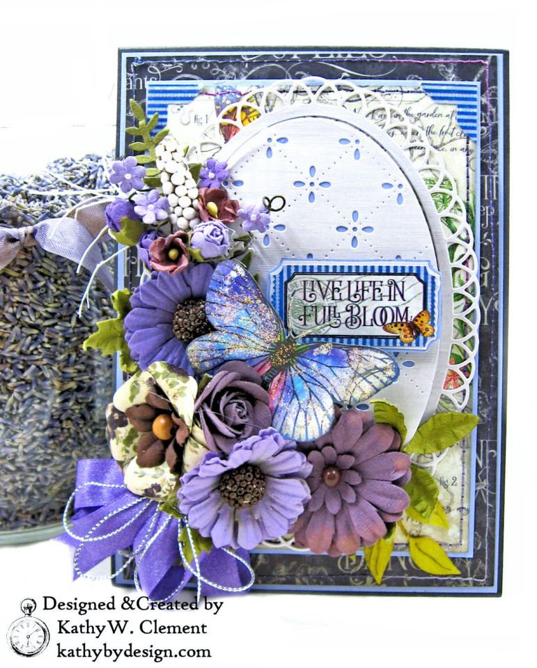 Graphic 45 Flutter Full Bloom Card Folio by Kathy Clement for Really Reasonable Ribbon Photo 01