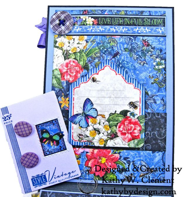 Graphic 45 Flutter Full Bloom Card Folio by Kathy Clement for Really Reasonable Ribbon Photo 06