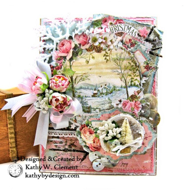 Stamperia Pink Christmas Card Folio by Kathy Clement for Really Reasonable Ribbon Photo 02
