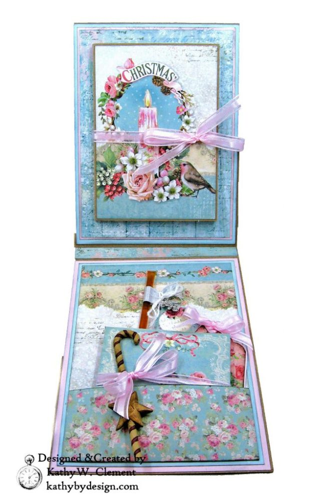 Stamperia Pink Christmas Card Folio by Kathy Clement for Really Reasonable Ribbon Photo 06