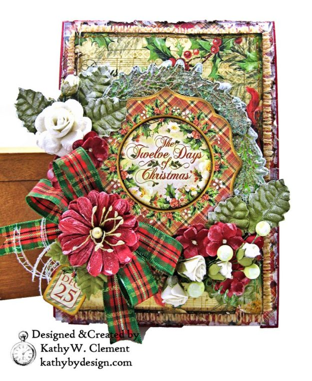 Graphic 45 Twelve Days of Christmas Card Folio Tim Holtz Laurel Impresslits Wreath by Kathy Clement for The Funkie Junkie Boutique Photo 04