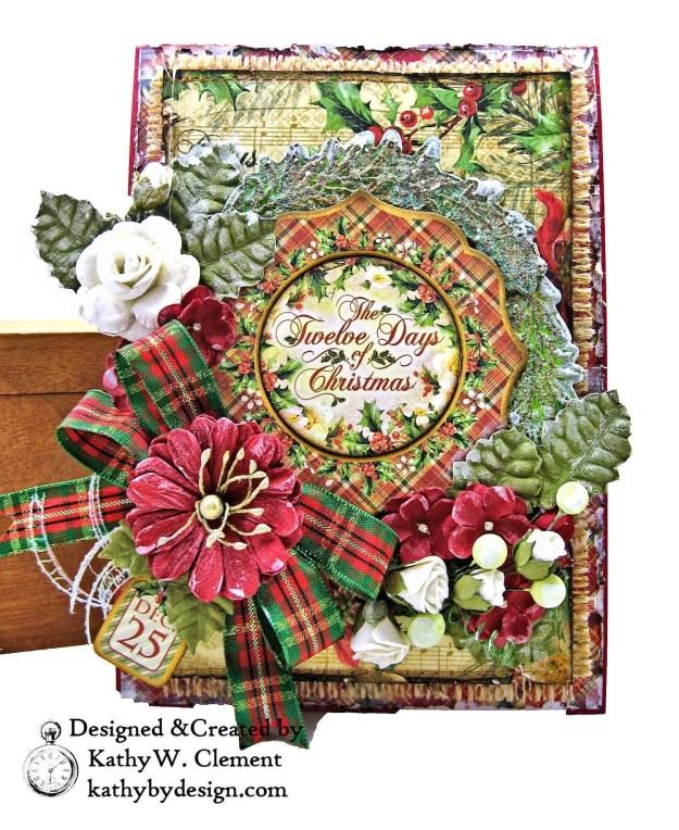 Graphic 45 Twelve Days of Christmas Card Folio Tim Holtz Laurel Impresslits Wreath by Kathy Clement for The Funkie Junkie Boutique Photo 04