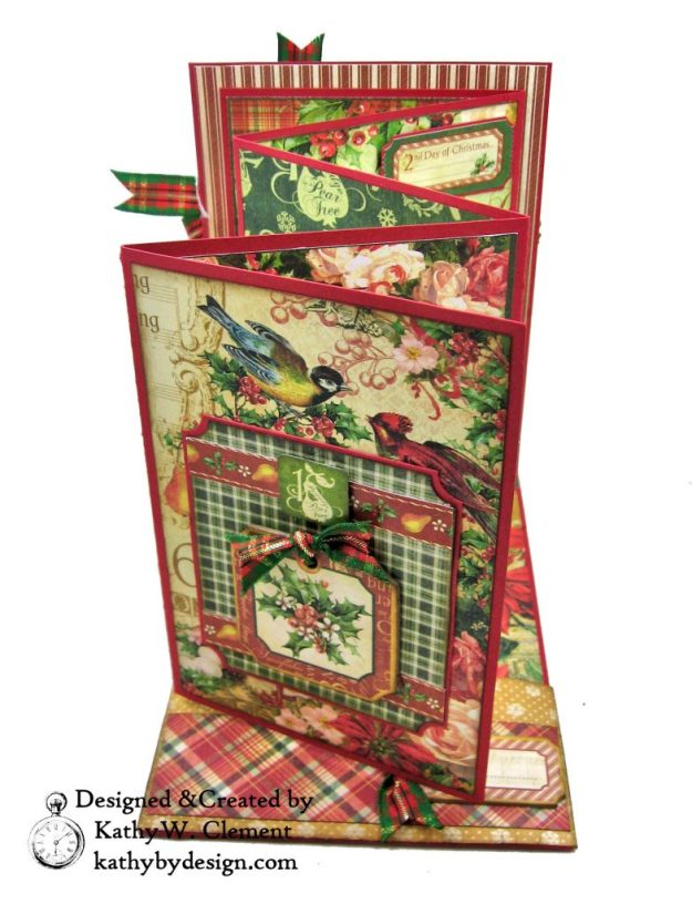 Graphic 45 Twelve Days of Christmas Card Folio Tim Holtz Laurel Impresslits Wreath by Kathy Clement for The Funkie Junkie Boutique Photo 09