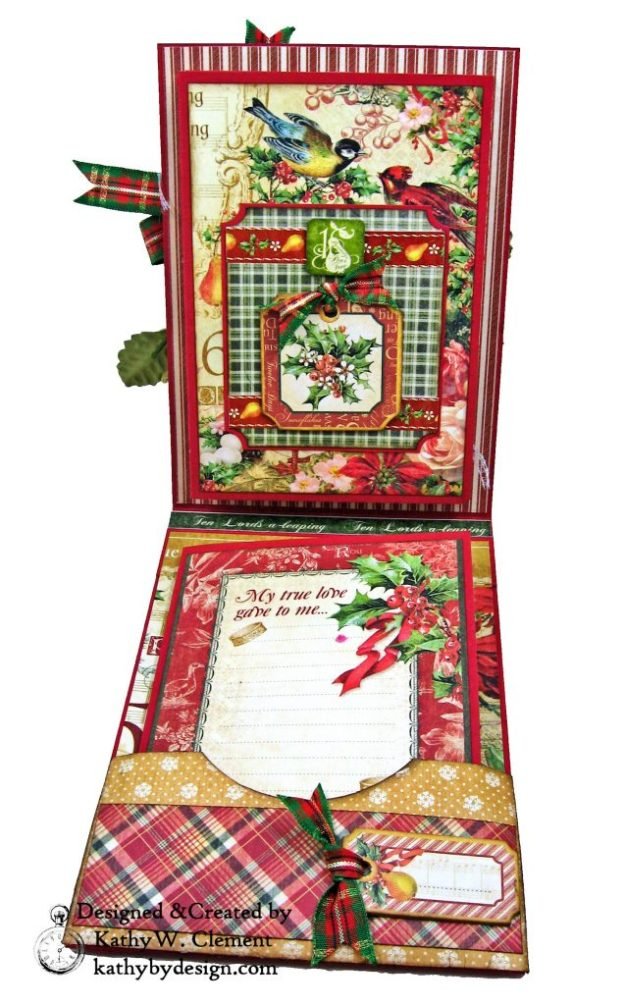 Graphic 45 Twelve Days of Christmas Card Folio Tim Holtz Laurel Impresslits Wreath by Kathy Clement for The Funkie Junkie Boutique Photo 06
