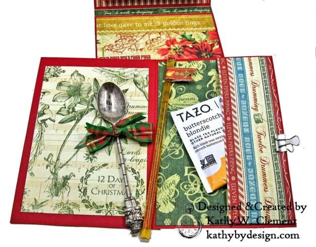Graphic 45 Twelve Days of Christmas Card Folio Tim Holtz Laurel Impresslits Wreath by Kathy Clement for The Funkie Junkie Boutique Photo 08