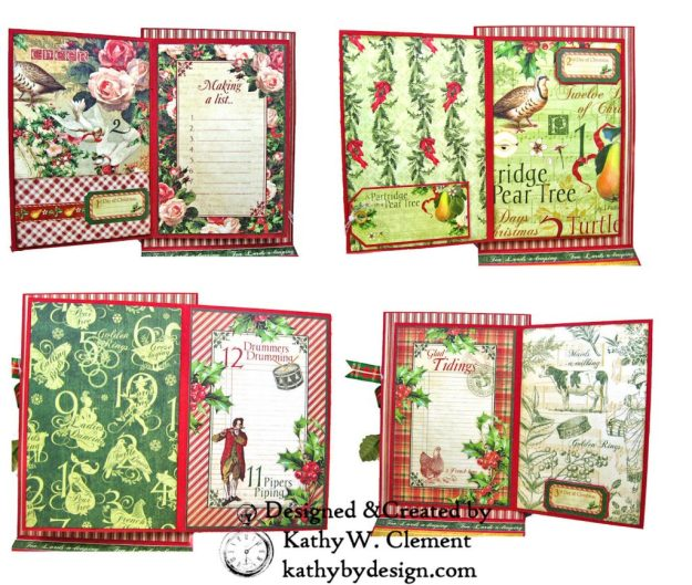 Graphic 45 Twelve Days of Christmas Card Folio Tim Holtz Laurel Impresslits Wreath by Kathy Clement for The Funkie Junkie Boutique Photo 10