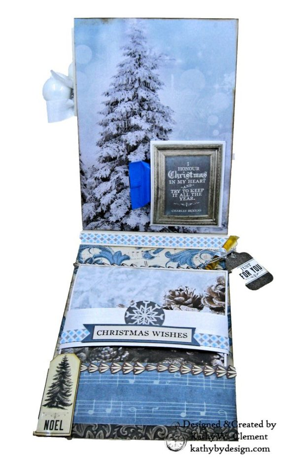 Frosted Memories Vintage Style Christmas Card Folio by Kathy Clement Kaisercraft Frosted for Really Reasonable Ribbon Photo 06