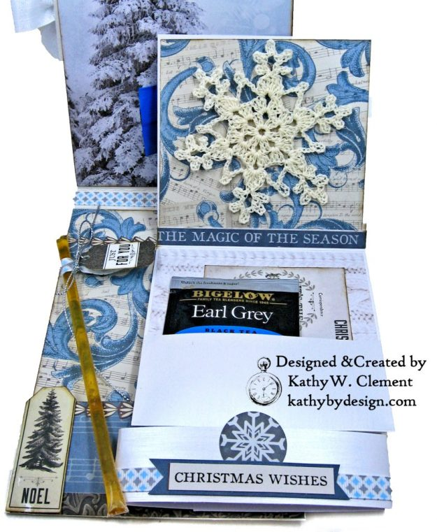 Frosted Memories Vintage Style Christmas Card Folio by Kathy Clement Kaisercraft Frosted for Really Reasonable Ribbon Photo 08