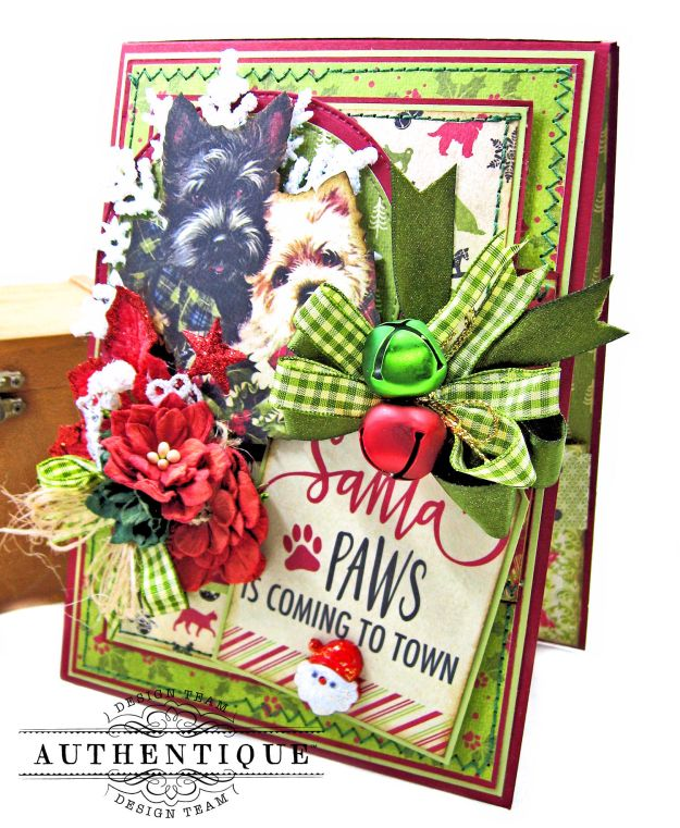 Santa Paws Christmas Card Folio Tutorial Nostalgia by Kathy Clement for Authentique Paper Photo 02