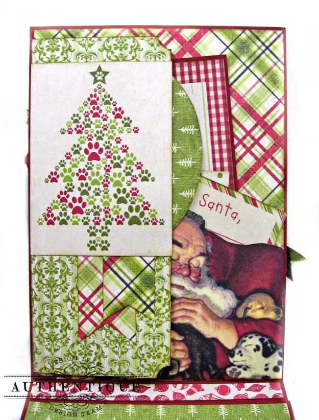 Santa Paws Christmas Card Folio Tutorial Nostalgia by Kathy Clement for Authentique Paper Photo 05