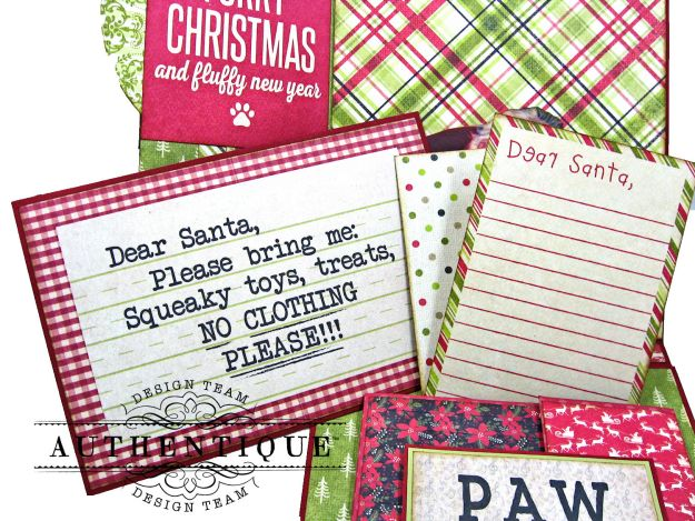 Santa Paws Christmas Card Folio Tutorial Nostalgia by Kathy Clement for Authentique Paper Photo 07