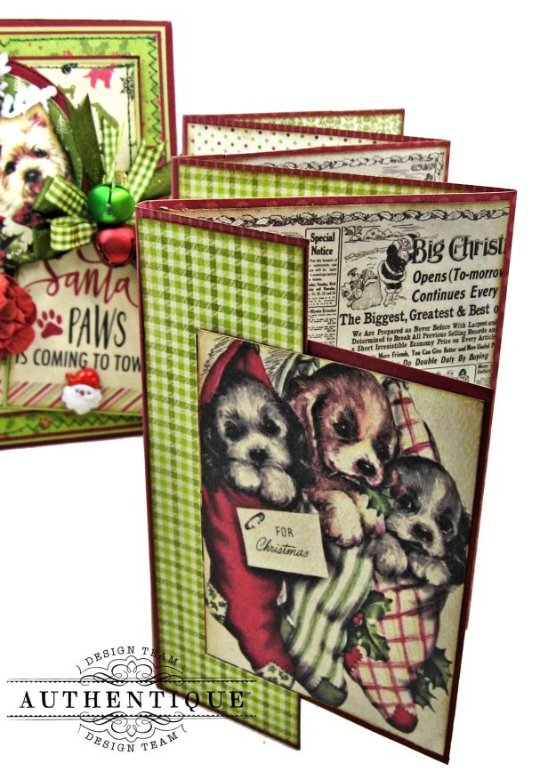 Santa Paws Christmas Card Folio Tutorial Nostalgia by Kathy Clement for Authentique Paper Photo 10
