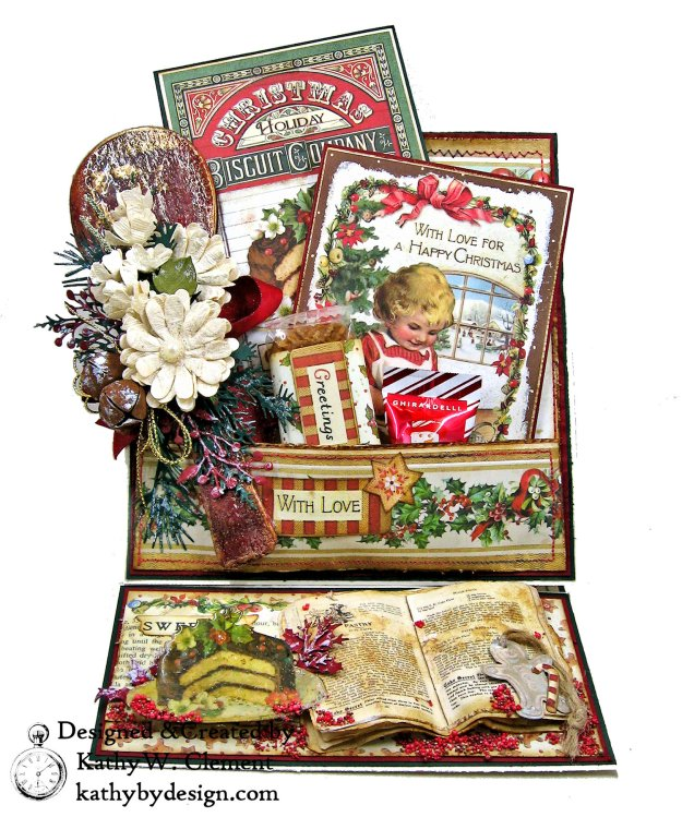 Christmas Kitchen Easel Card Folio by Kathy Clement for The Funkie Junkie Boutique Stamperia Christmas Vintage Photo 01