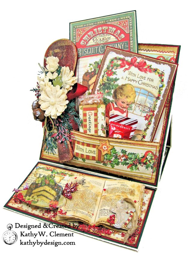 Christmas Kitchen Easel Card Folio by Kathy Clement for The Funkie Junkie Boutique Stamperia Christmas Vintage Photo 02