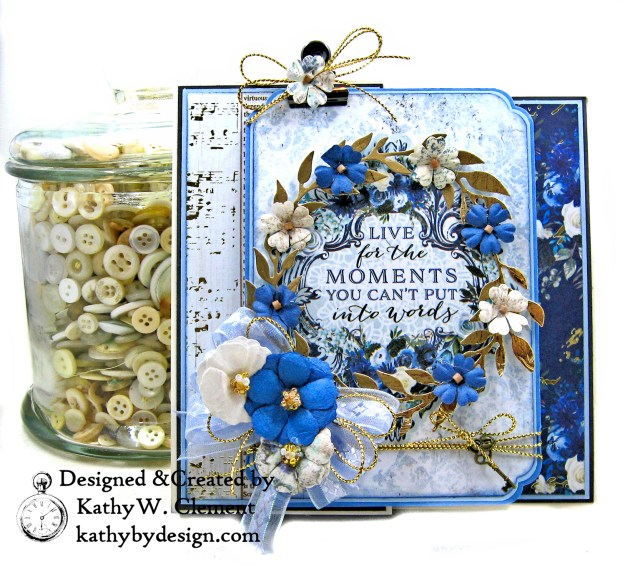 Prima Georgia Blues Fancy Fold Birthday Card by Kathy Clement for The Funkie Junkie Boutique Photo 01