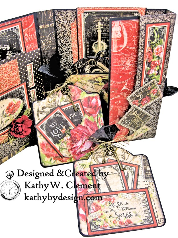 Graphic 45 Love Notes Trifold Tag and Pocket Folio by Kathy Clement Kathy by Design Photo 05