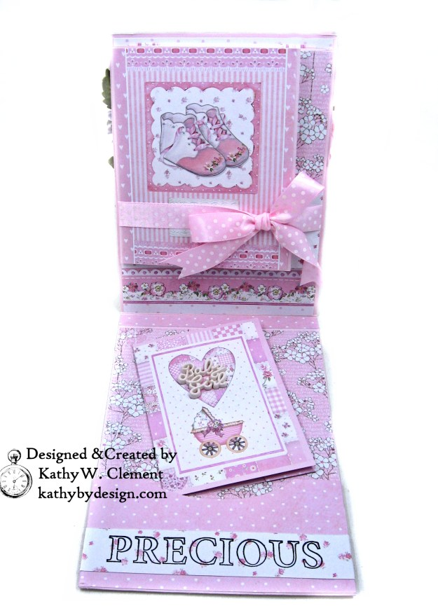 Stamperia Baby Girl Shaker Card by Kathy Clement Kathy by Design for Really Reasonable Ribbon Photo 03