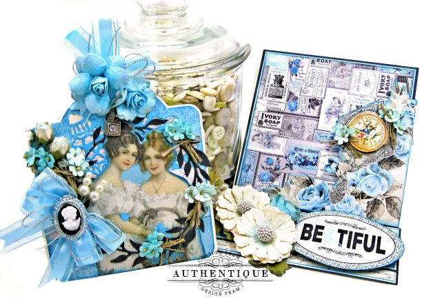 Authentique Glamour Tag & Pocket Easel Card Tutorial Graphic 45 Square Tag Square Tag and Clocks Die Eileen Hull Credit Card Sleeve Tim Holtz Mixed Media 2 Dies Spellbinder Harvest Wreath Die by Kathy Clement Kathy by Design Photo 03