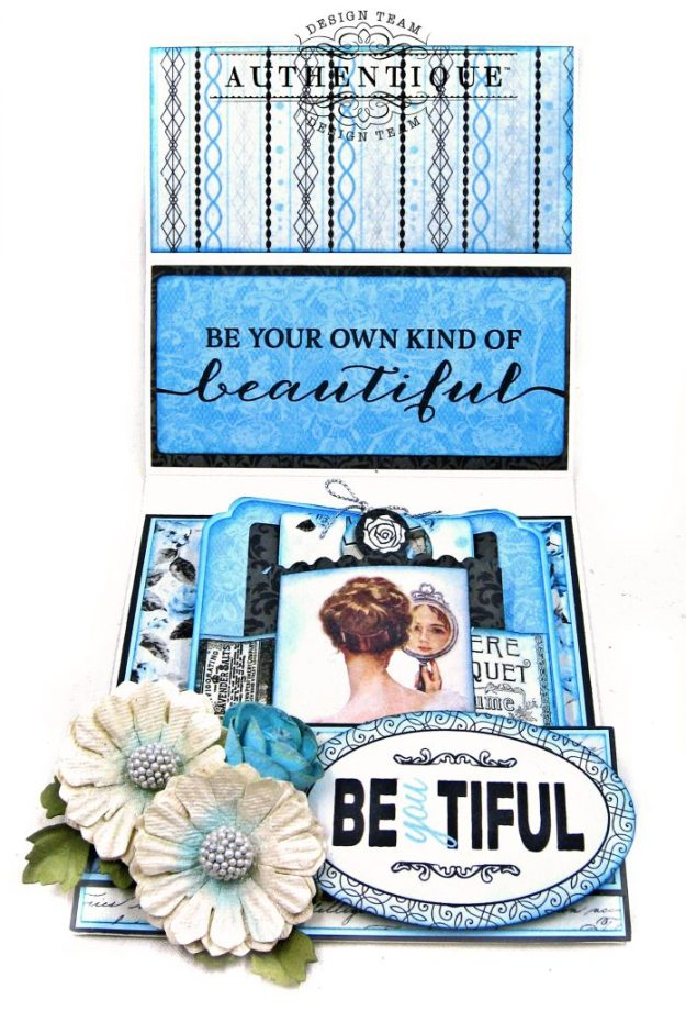 Authentique Glamour Tag & Pocket Easel Card Tutorial Graphic 45 Square Tag Square Tag and Clocks Die Eileen Hull Credit Card Sleeve Tim Holtz Mixed Media 2 Dies Spellbinder Harvest Wreath Die by Kathy Clement Kathy by Design Photo 06