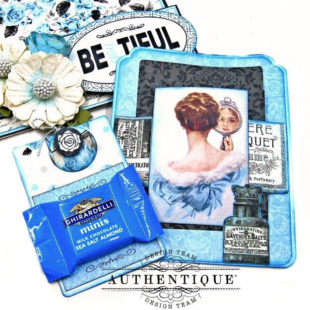 Authentique Glamour Tag & Pocket Easel Card Tutorial Graphic 45 Square Tag Square Tag and Clocks Die Eileen Hull Credit Card Sleeve Tim Holtz Mixed Media 2 Dies Spellbinder Harvest Wreath Die by Kathy Clement Kathy by Design Photo 08