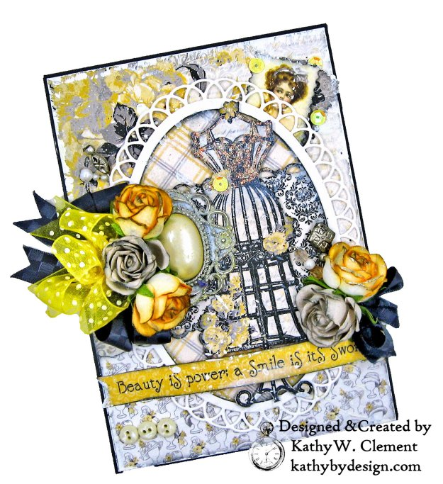 Authentique Poised Shabby Chic Card by Kathy Clement Kathy by Design for Really Reasonable Ribbon Photo 01